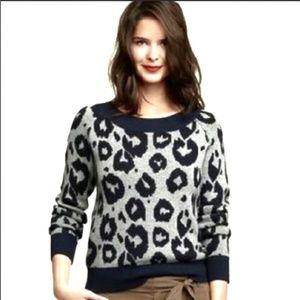 GAP Navy and Gray Animal Print Sweater SZ XL